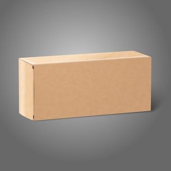 リアルな白紙クラフトパッケージボックス。デザインとブランディングのために灰色の背景に分離。