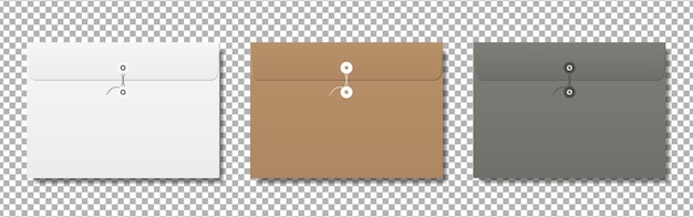 Realistic blank paper envelopes mockup.