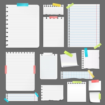 Realistic blank paper sheets on different size and shape stuck with colorful tape on grey background isolated vector illustration