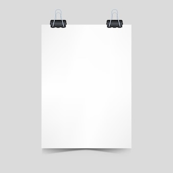 Realistic blank paper with clip paper poster concept for promotion 3d  illustration