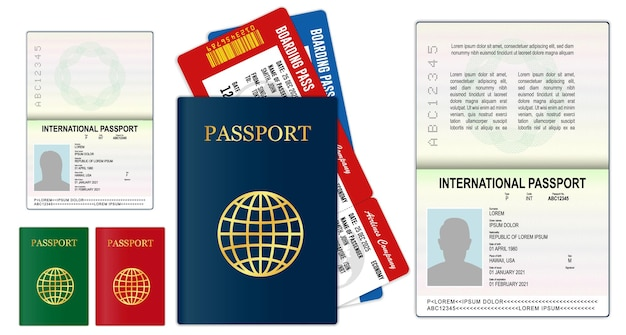 Realistic blank passport pages or empty passport with watermark and stamps