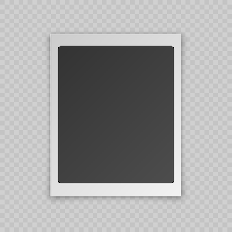 Realistic blank photo card with shadow effect, white plastic border isolated on transparent background.