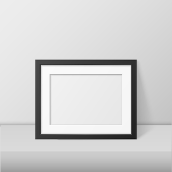 Realistic blank picture frame template isolated.