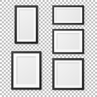 Realistic blank picture frame template set . .