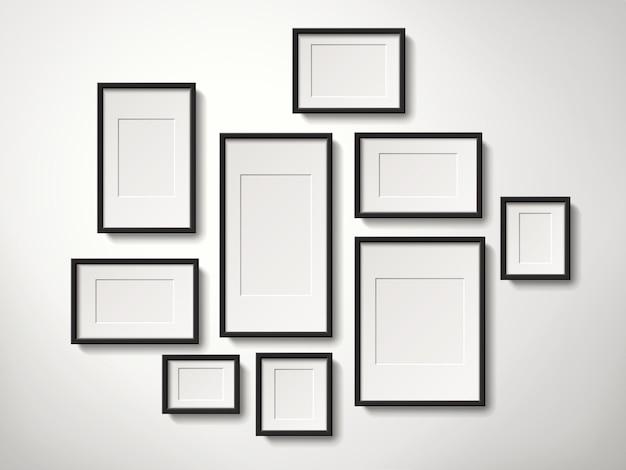 Реалистичная коллекция пустых рамок для картин, висит на стене, 3d иллюстрация