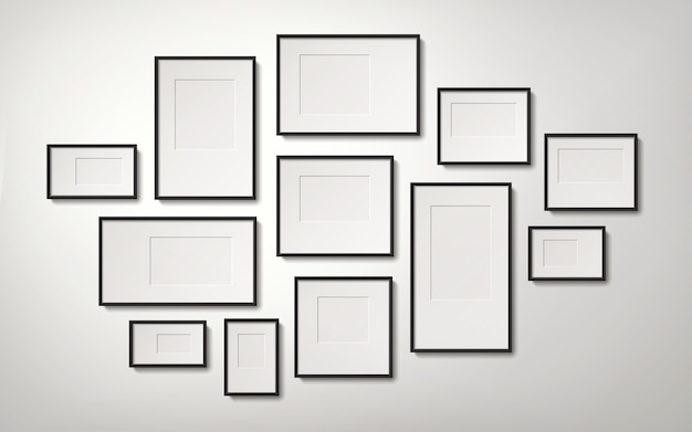 Realistic blank picture frames collection hanging on the wall, 3d illustration
