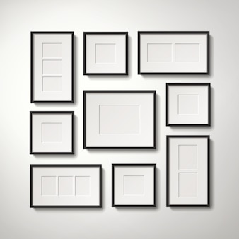 Realistic blank picture frames collection hanging on the wall in regular way, 3d illustration