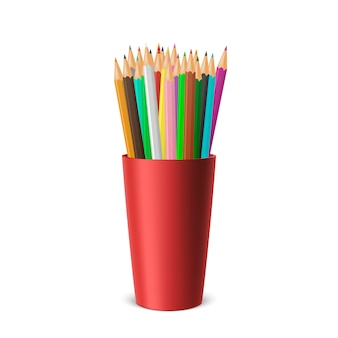 Realistic blank plastic cup-stand with a set of colored pencils.