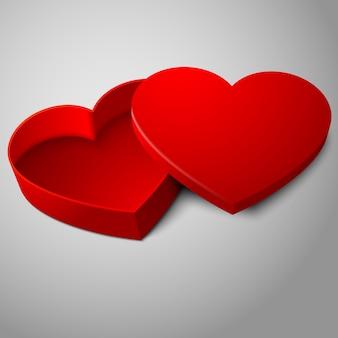 灰色の背景で隔離の現実的な空白の赤の開いたハート型ボックス。あなたのバレンタインデーのために、結婚式や愛はデザインを提示します。