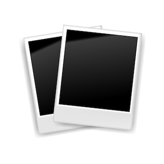 Realistic blank retro photo frame, vector illustration