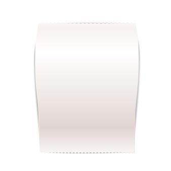 現実的な空白の領収書、テキストなしの白いショッピング法案。白の紙の財務小切手モックアップ