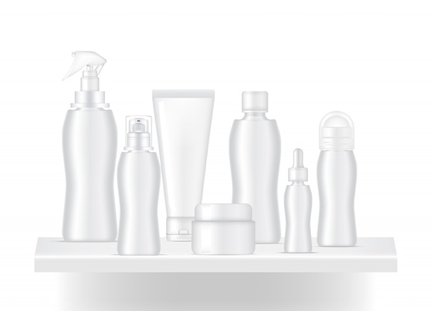Realistic blank shelf to show skincare bottle product with light and shadow