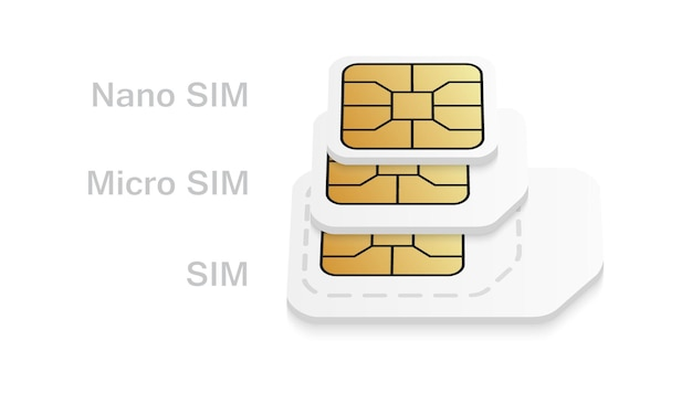 Realistic blank sim card different sizes