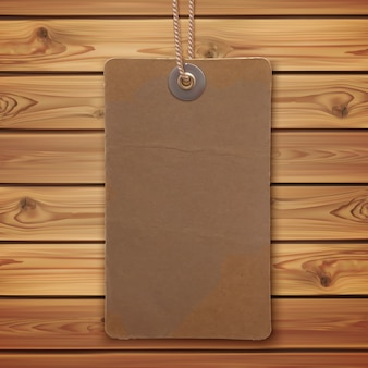 Realistic blank vintage label on wooden planks. price tag.