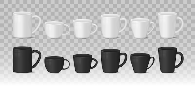 투명 한 배경에 현실적인 빈 흰색과 검은 색 커피 잔 컵. 빛나는 표면으로 뜨거운 음료 용기 컵 컬렉션입니다. 현실적인 3d 스타일.