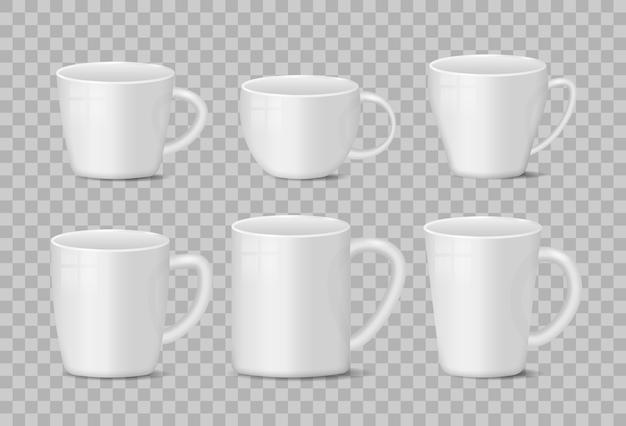 Реалистичные пустые белые и черные чашки кружки кофе на прозрачном фоне