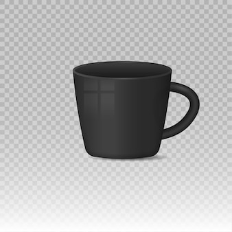 Realistic blank white and black coffee mug cups hot drink container cup classic porcelain utensils