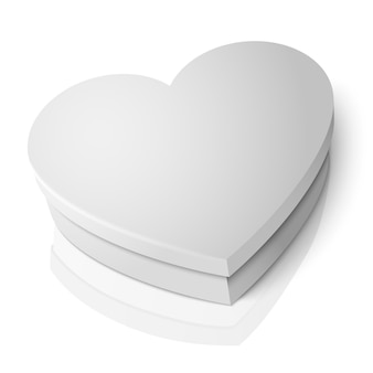Realistic blank white heart shape box isolated on white background with reflection.