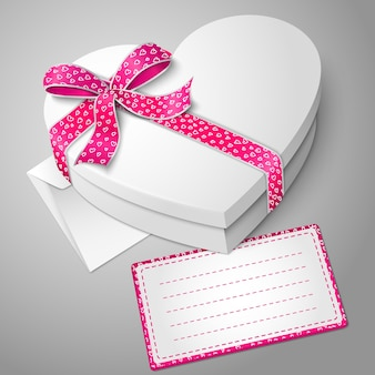 Realistic blank white heart shape box with ribbon and bow-knot
