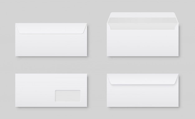 Realistic blank white letter paper dl envelope front view.  blank open and closed on gray    .