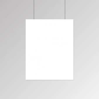 Realistic blank white paper poster hanging on wall