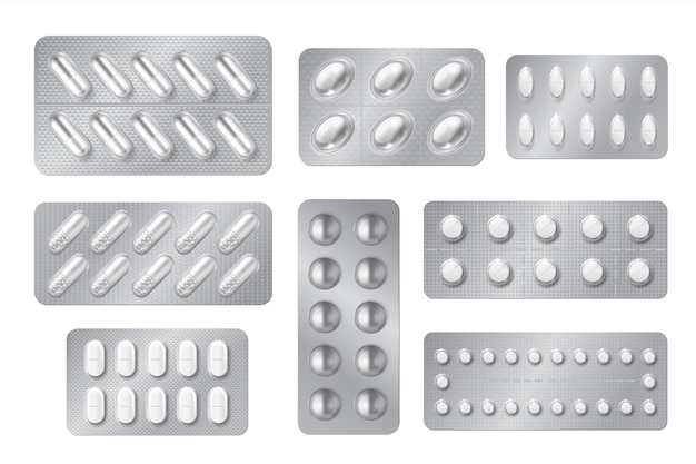 Realistic blisters. medicine pill and capsule packs, white 3d drugs and vitamins isolated