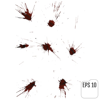 Realistic blood drips. splash and spray of blood.