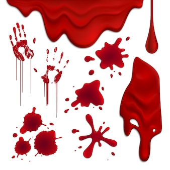 Realistic blood drops and blots set illustration