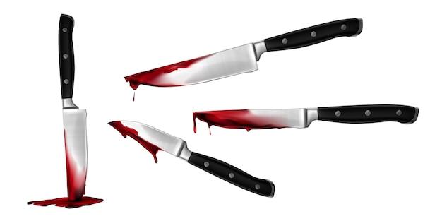 リアルな血まみれのナイフコレクションイラスト