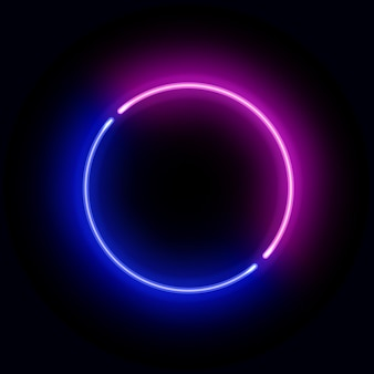 현실적인 파란색과 분홍색 네온 원형 프레임