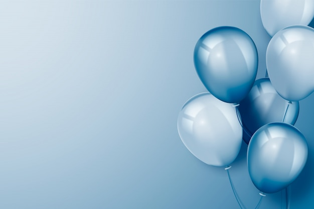 Realistic blue background with balloons