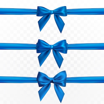 Realistic blue bow. element for decoration gifts, greetings, holidays.