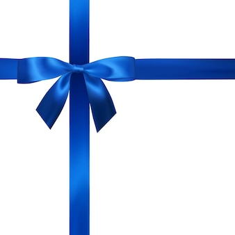 Realistic blue bow with blue ribbons isolated on white. element for decoration gifts, greetings, holidays.