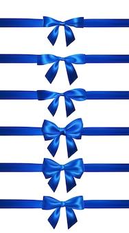 白で隔離の水平の青いリボンとリアルな青い弓。装飾ギフト、挨拶、休日の要素。