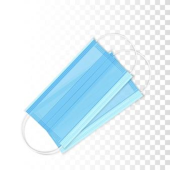 リアルな青い呼吸呼吸マスク。医療用フェイスマスク。ウイルスと病気の予防。ヘルスケアの問題。透明な背景に分離
