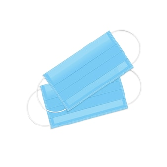 リアルな青い呼吸呼吸マスク。医療用フェイスマスク。ウイルスと病気の予防。ヘルスケアの問題。白で隔離