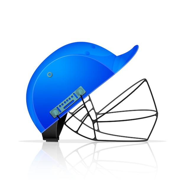 白い背景の上の現実的な青いクリケットヘルメット。