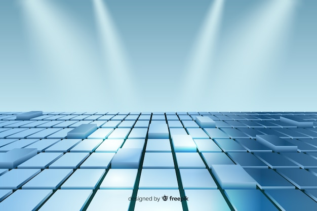 Realistic blue cubes floor background