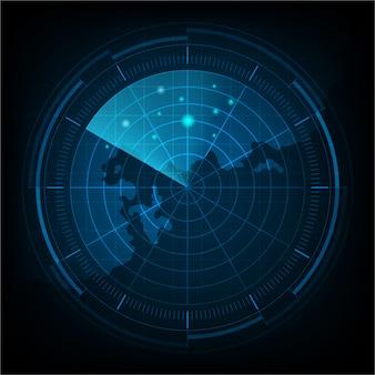 현실적인 블루 디지털 레이더 화면 및 대상이있는 군사 검색 시스템.