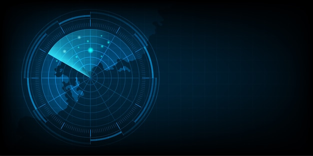 Realistic blue digital radar screen and military search system with target. technology background.