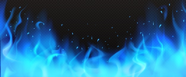 Realistic blue fire border, burning flame clipart