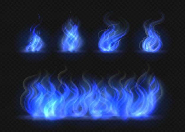 リアルな青い火の炎が設定されています。透明なトーチ効果、抽象的な青い光のフレア、キャンプファイヤーのデザインテンプレート。孤立したベクトル3dイラスト燃えるガス効果