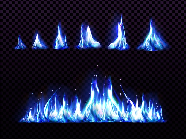 Realistic blue fire set for animation, torch flame