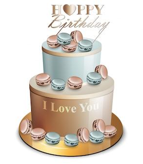 Realistic blue golden happy birthday cake