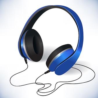 Realistic blue headphones