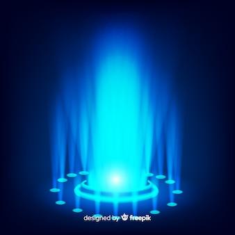 Realistic blue hologram portal background
