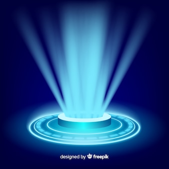 Realistic blue hologram portal background