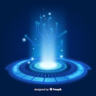 Реалистичная голубая голограмма портала фон