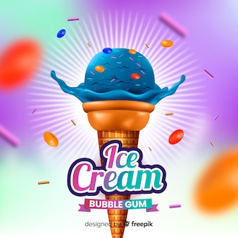 Realistic blue ice cream and bubble gum ad