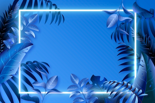 Realistic blue leaves with neon frame